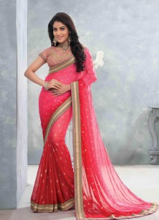 REDUNIQUE WEDDING WEAR GEORGETTE SAREE WITH BLOUSE WITH BLOUSE