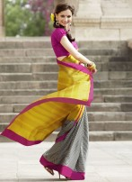 TWO TONED YELLOW CHECK BOARD CREPE SAREE